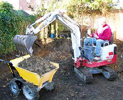 Muck Truck works well with micro diggers and mini diggers